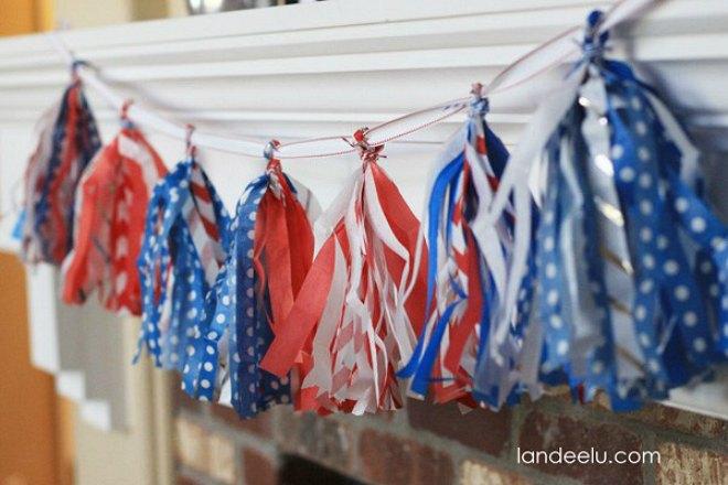 Patriotic Tissue paper garland