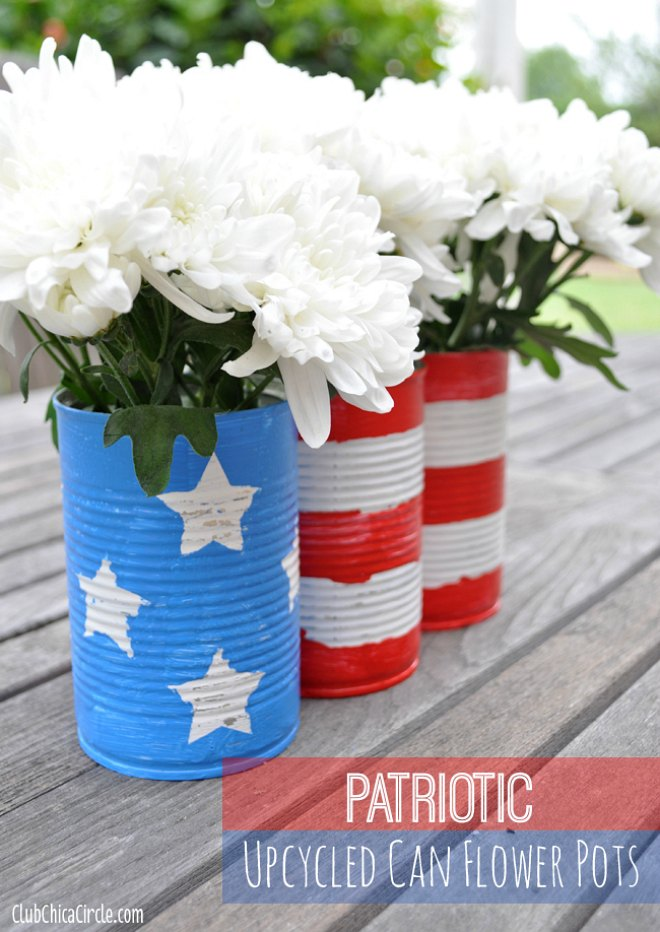 Patriotic Upcycled Can Flower Pots