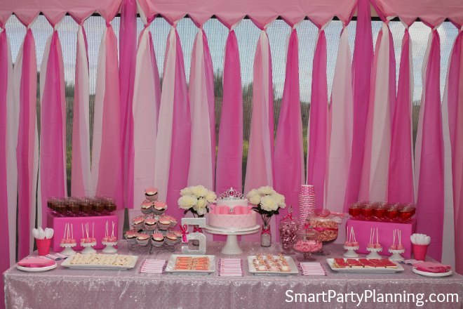 Plastic tablecloth party backdrop