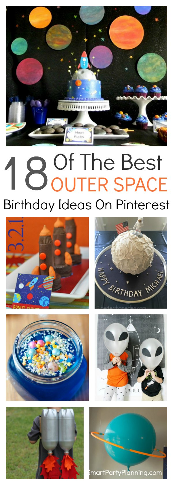 18 awesome ideas for a fun filled outer space birthday party.  Easy ideas for space themed decorations, food, games and favors. This theme will be just as much fun to plan as it will be to hold. So start organizing those planets and rocket ships and plan a party for the boys that they will never forget.