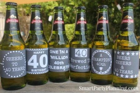 Chalkboard 40th Beer Labels