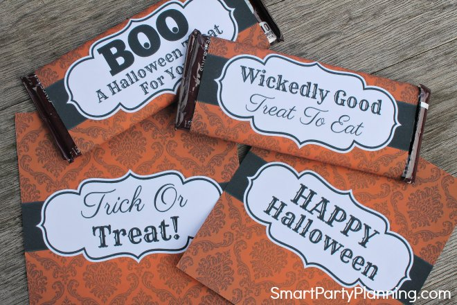 Attach Halloween Wrappers to candy bars