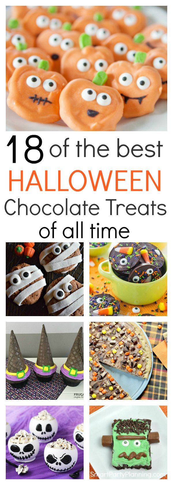 18 of the easiest chocolate treats you will find for a Halloween celebration.  With a mix of recipes, including cookies, cupcakes, brownies, and bite size treats, this selection will be enjoyed by both kids and adults. They are quick to make, they all look amazing and all taste delicious. It is the ultimate Halloween chocolate treat selection.
