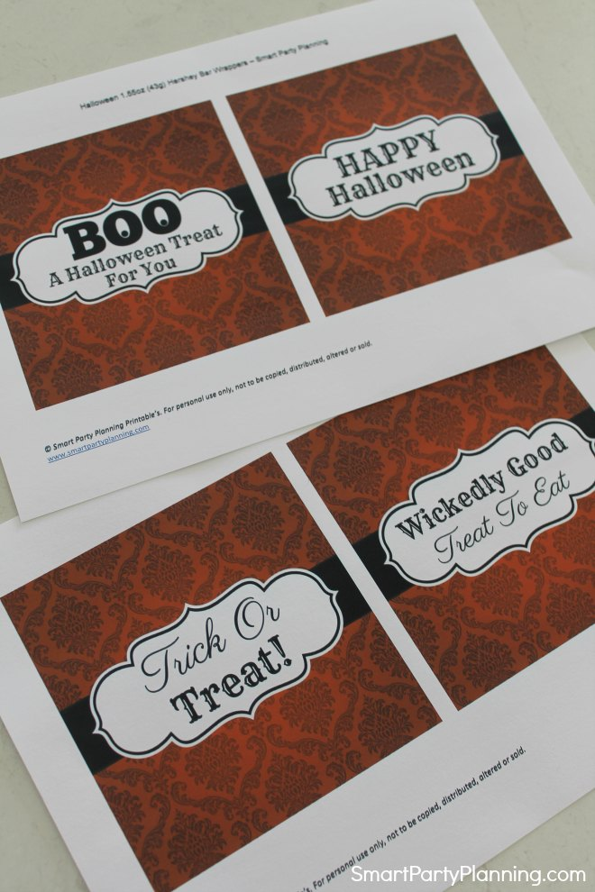 Printable Halloween Candy Bar Wrappers