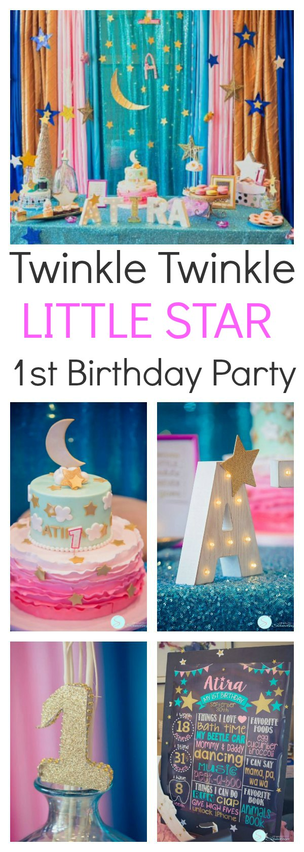 """A twinkle twinkle little star birthday party is the perfect way to celebrate in style. From the sparkly decoration, to the beautiful desserts, this is the kind of party that will make everyone smile.""""Twinkle twinkle little star, I've grown so much and come so far"""". What an absolutely beautiful way to celebrate!"""