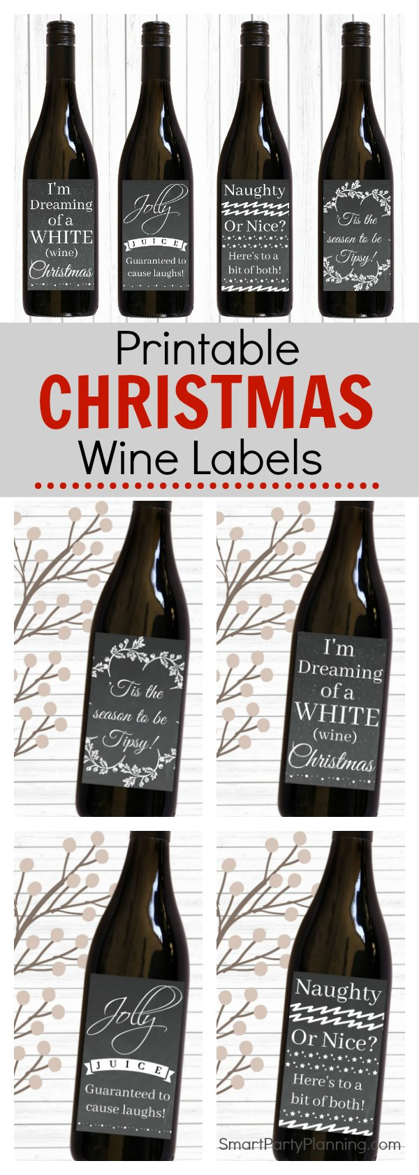 Christmas gift Printable wine labels