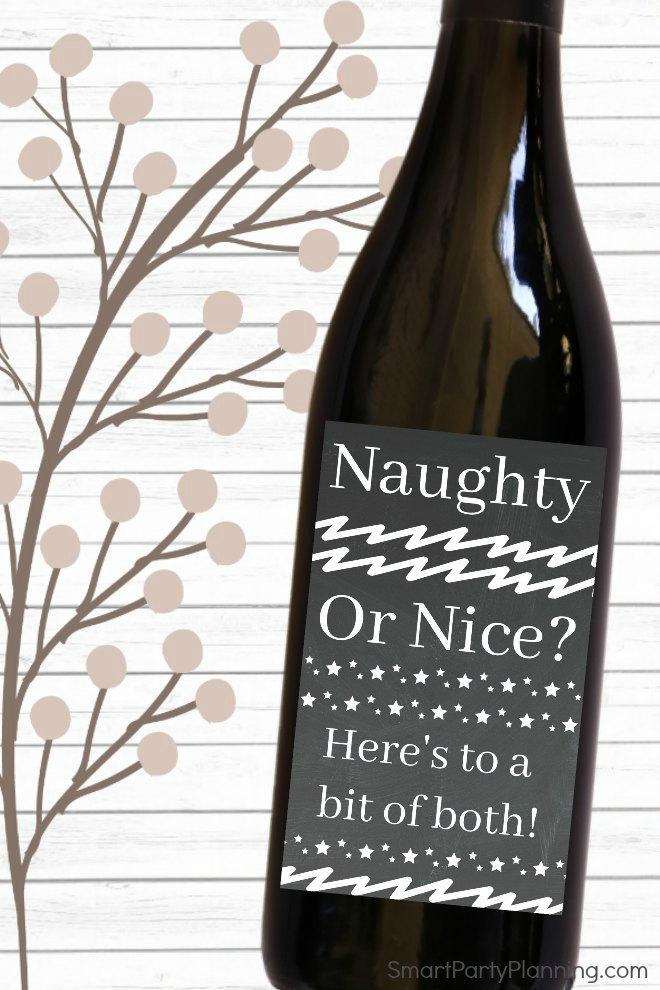 naughty or nice wine bottle label Christmas gift