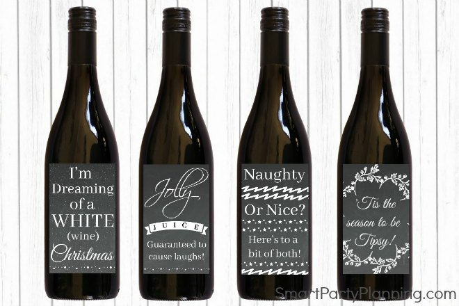 set of 4 christmas wine labels great christmas gift
