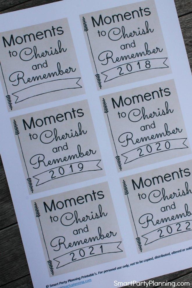 Moments to cherish memory jar printable