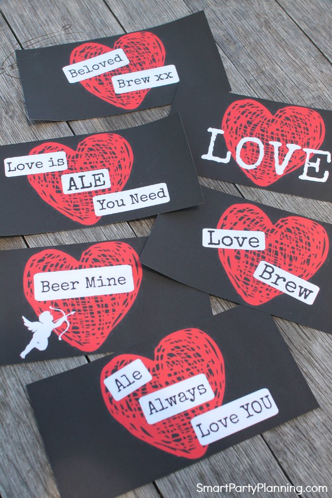 Cut out the Valentine beer labels