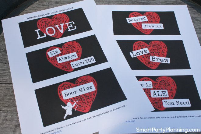 Print set of Valentine beer labels heart design