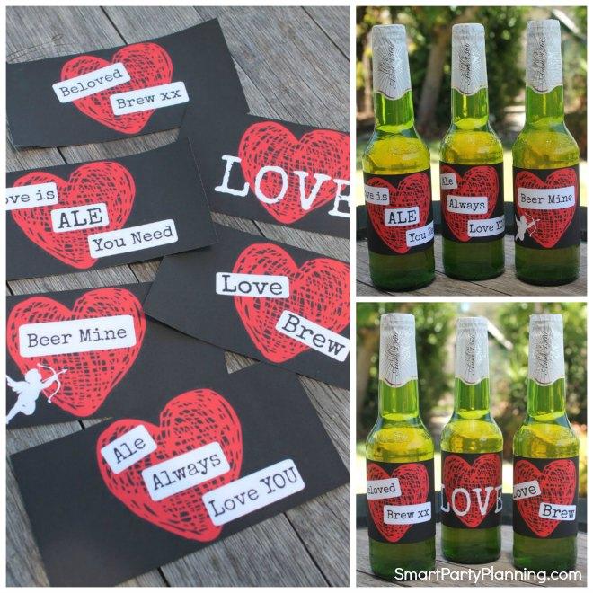 Set of 6 Printable Valentine Beer Labels For Men