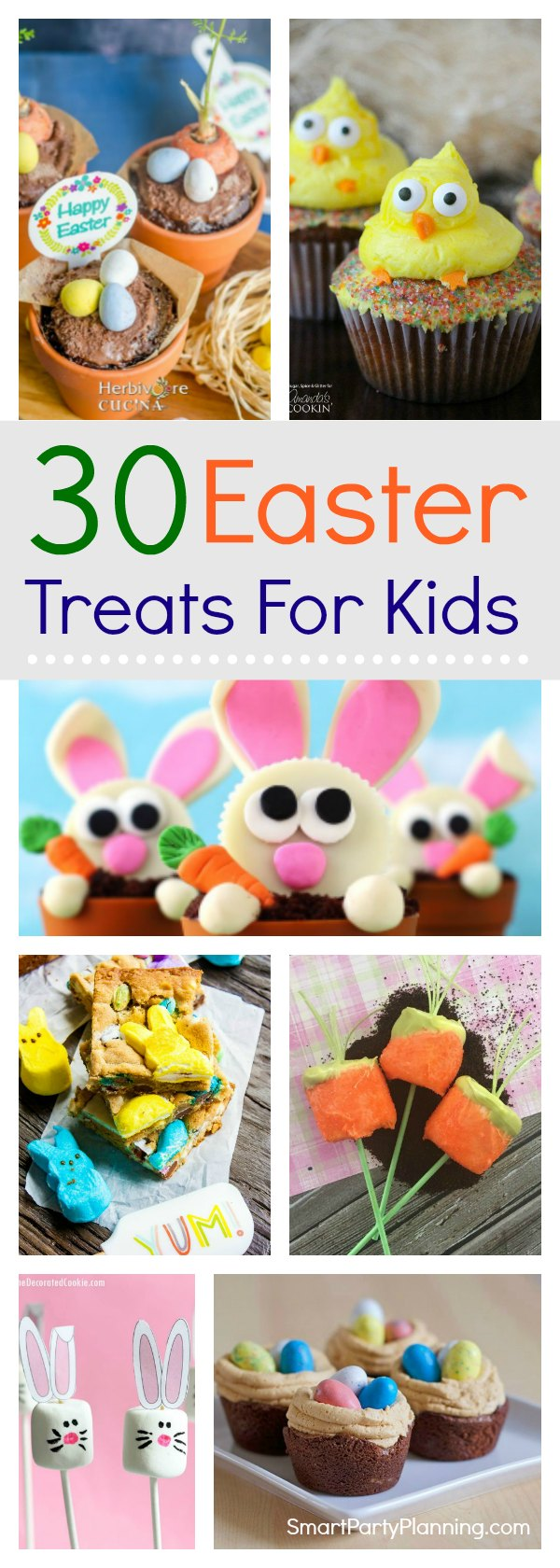 30 amazing Easter treats for kids that they are going to absolutely LOVE.  These recipes are easy to make and are great for parties or for school. There are ideas that include chocolate, peeps, no-bake and non-chocolate treats.  The difficult decision will be deciding which one to make first! #Easter #Treatsforkids #Recipes #Easterideas