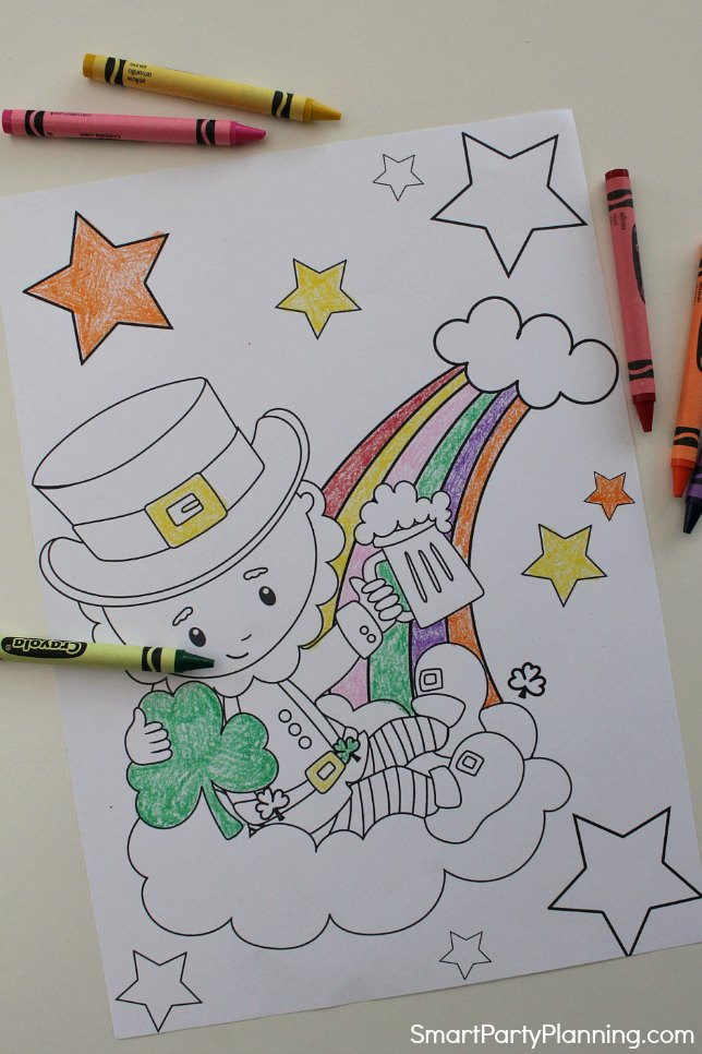 Leprehcaun sitting on a rainbow coloring page