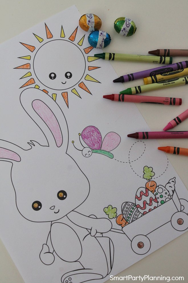 Easter bunny and cart coloring sheet