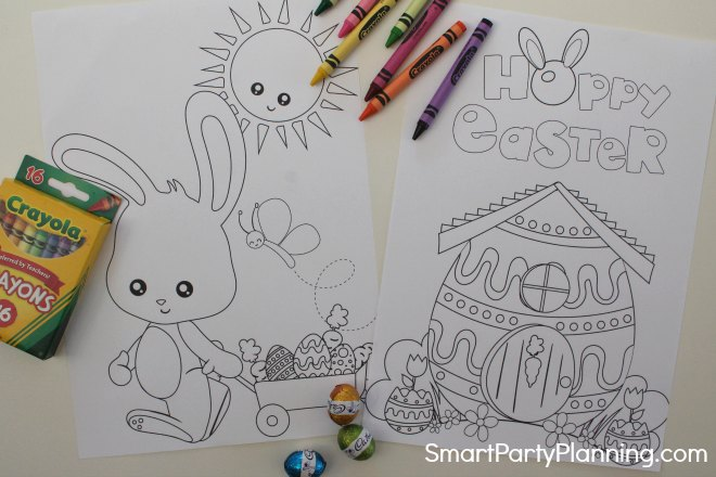Easter bunny cart and house coloring sheets
