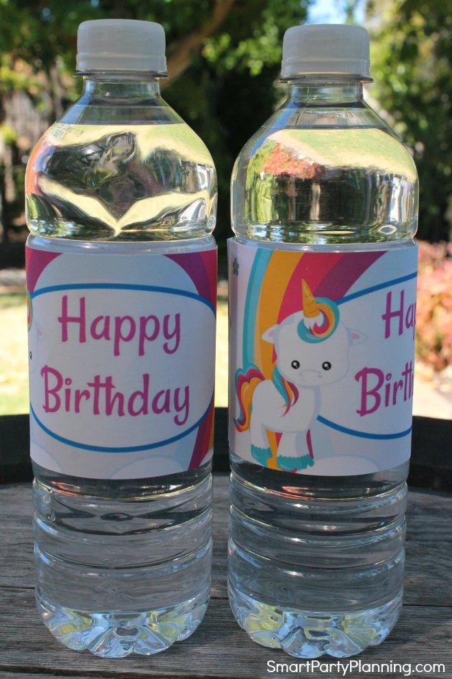 Unicorn water bottle labels