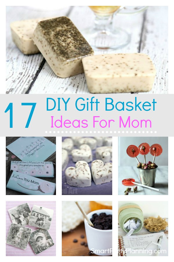 17 DIY gift basket ideas that mom will love for her birthday or mother's day.  These ideas are all budget friendly so you can fill the basket to the brim. Take your pick from creative spa themed ideas, homemade food items, and printable's. These are hampers for mom that she will absolutely love. #DIY #Giftbasket #Ideas #Mom #Birthday #Mothersday #Printable #Spa #Food #Budget