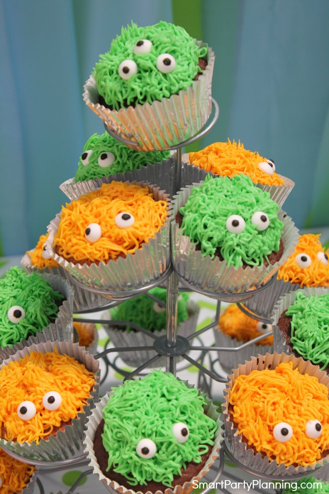 Close up of stand of monster cupcakes