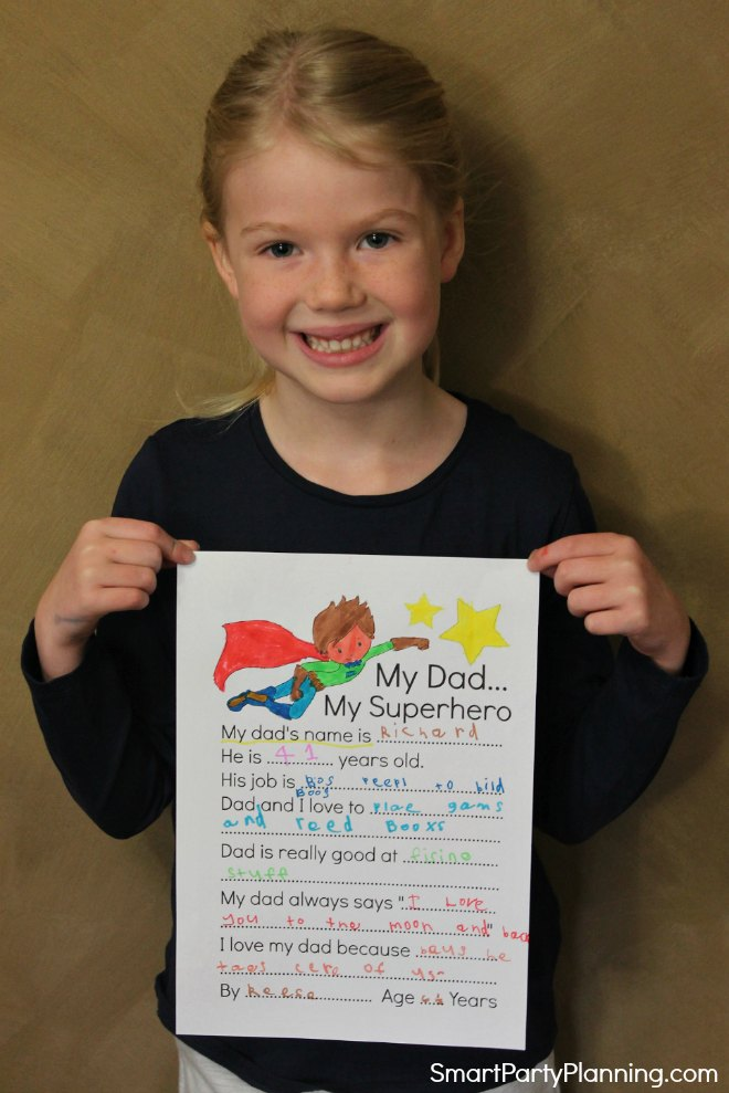 Completed fathers day questionnaire