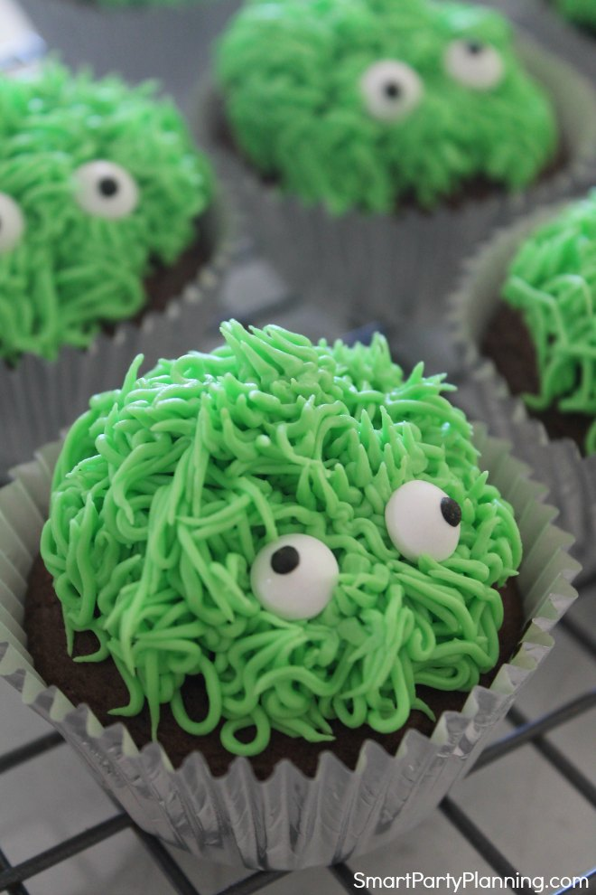 Green monster cupcakes with eyes