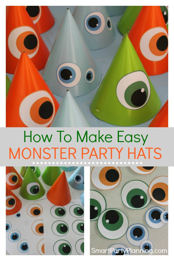 Super easy DIY monster party hats. Use the free printable to make these fun hats that the kids will love.  Perfect for wearing at a birthday party, Halloween party or using as a party favor. #Monsterpartyhats #DIY #Kids #Birthday #Party #Monster #Craft #Simple #Budget