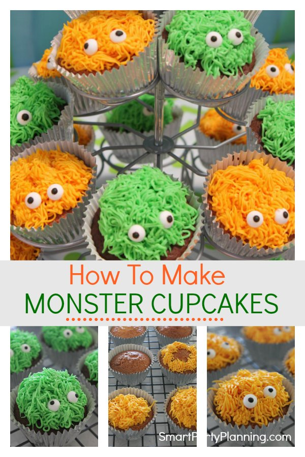 Learn how to make these adorable monster cupcakes with eyes. They are easy to make for either a birthday or Halloween party. With a simple piping technique and some cute little candy eyes, the kids are going to love them.