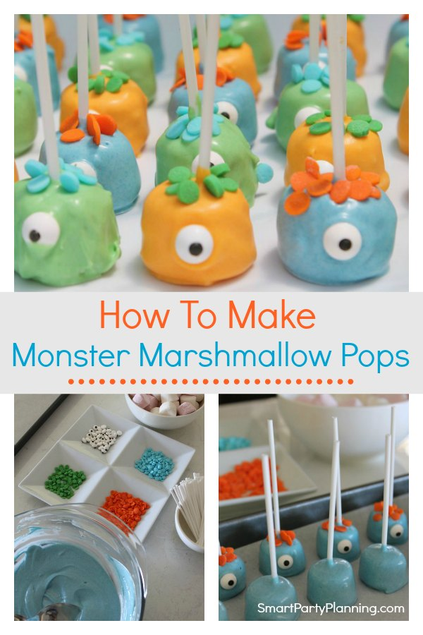 Learn how to make easy monster marshmallow pops.  Kids and adults alike will love these, and you don't need to have baking skills to pull them off. They are a lot of fun for birthday parties, or to be used as Halloween treats.  You will want to keep this monster pops recipe close to hand. #Monstermarshmallowpops #Birthdayparties #Halloween #Fun #Monster #Kids #Howtomake