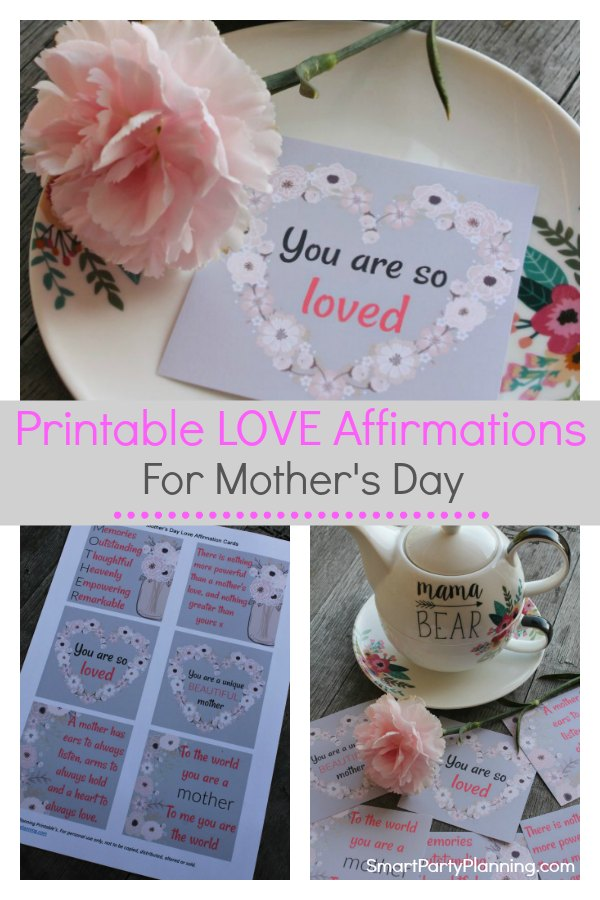 Free printable love affirmations for mother's day.  These beautiful quotes are awesome to show mom just how much she is loved, appreciated and cared for.  This is an easy gift, but also one that will make a big impact. The simple things in life are the best! #Mothersday #Free #Printable #Quote #Card #Easy #Gift #Beautiful
