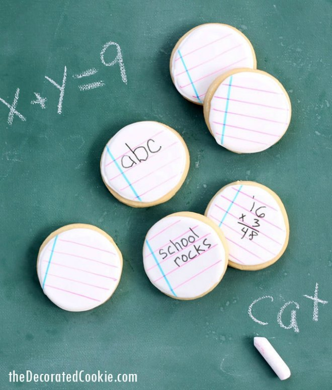 Back to school notebook cookies