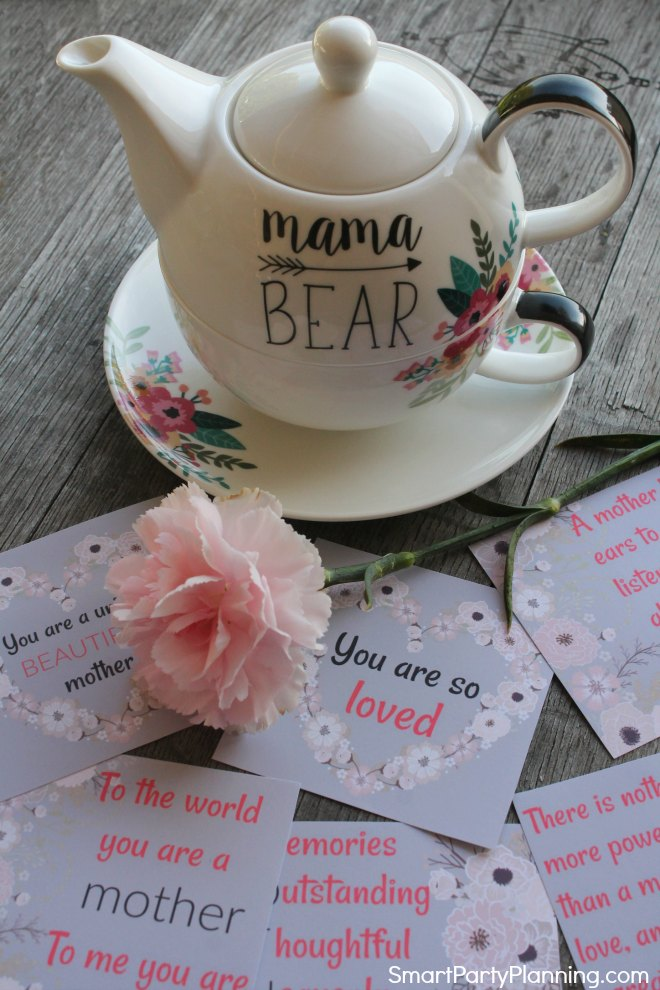 Love affirmations laid out with a teapot