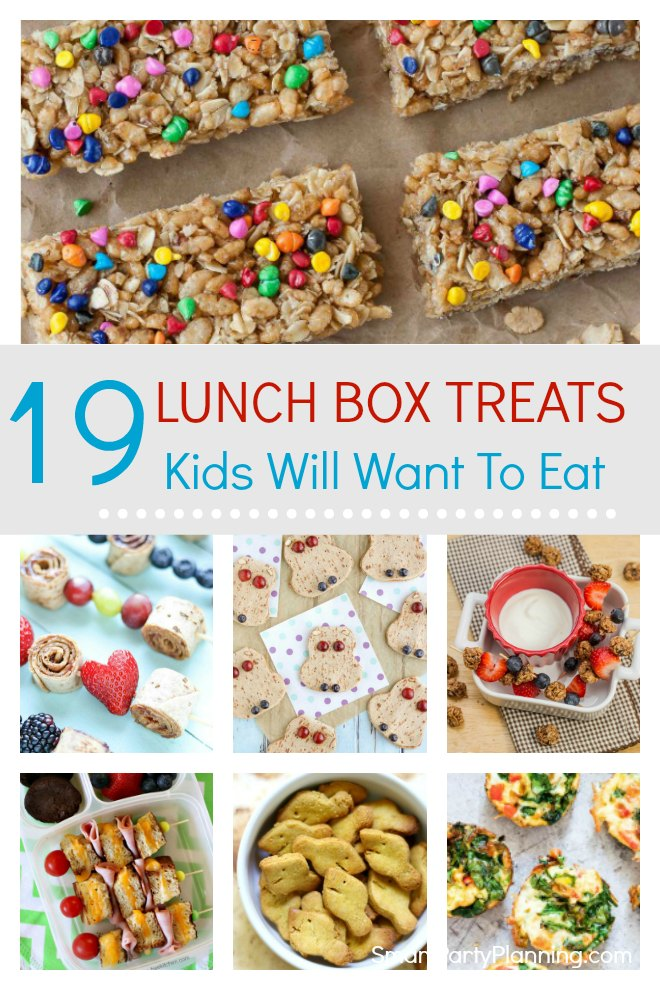 Selection of 19 fun lunch box treats that the kids are going to love taking to school.These treats are tasty, fun and also really simple to make. These are some savory and sweet lunch box ideas that will make going back to school that little bit more desirable.The quick and easy recipes are perfect for the back to school rush and also great for those picky eaters!