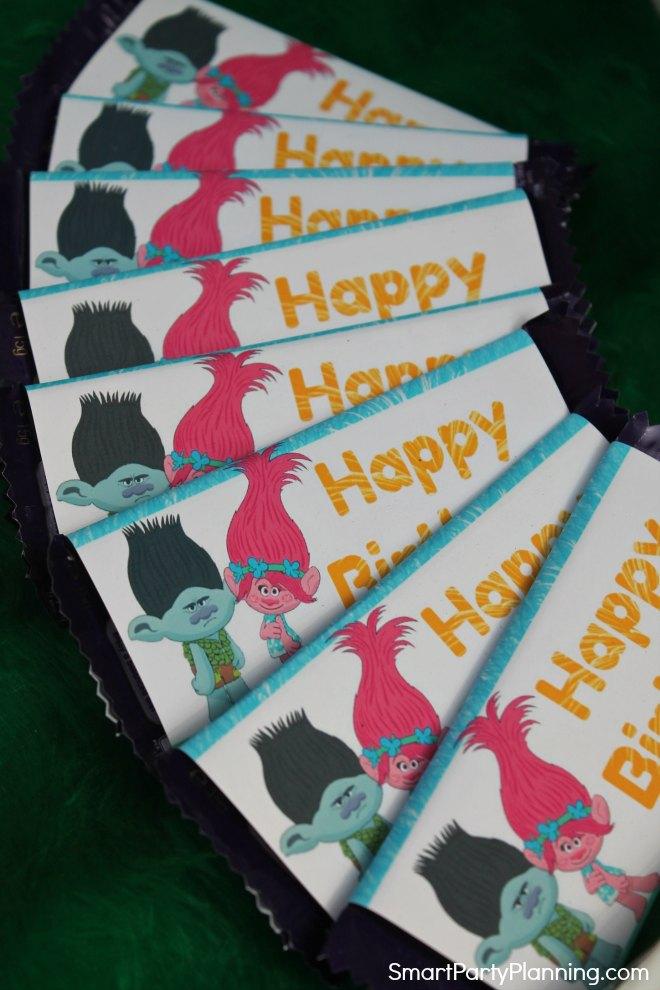 Trolls Candy Bar Wrappers