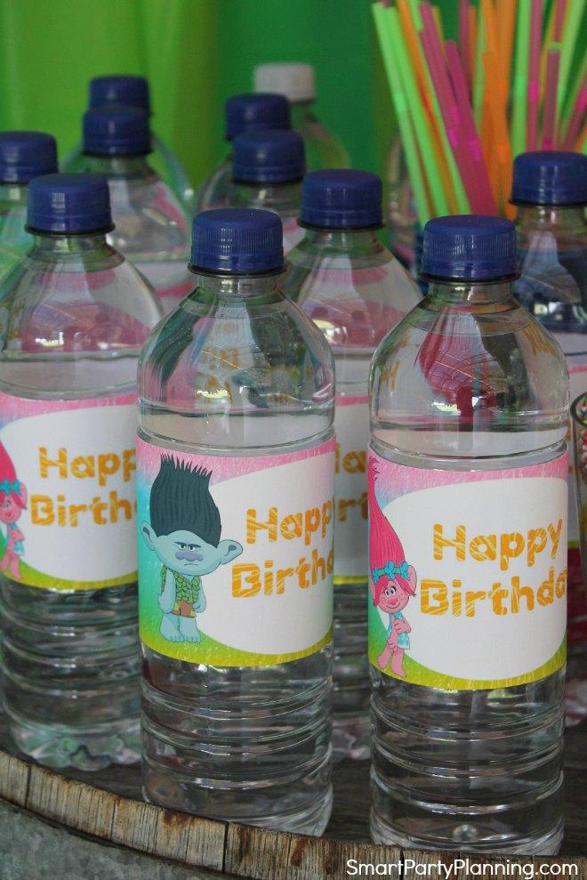 Trolls water bottle labels