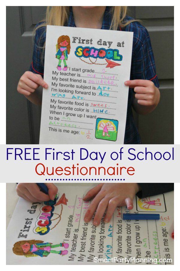 Free First Day of School Questionnaire