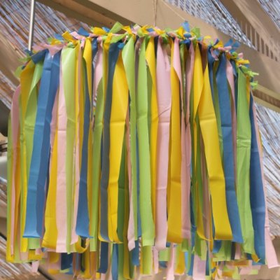 How To Make An Easy Plastic Tablecloth Ceiling Decoration