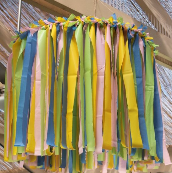 Plastic tablecloth ceiling decoration featured