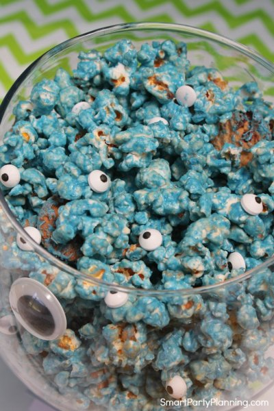 Bowl of blue cookie monster popcorn