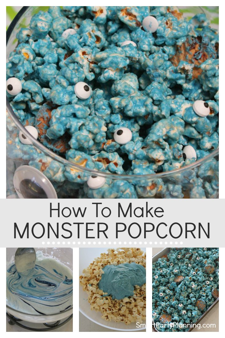 Learn how to make some fun cookie monster popcorn. This is an easy recipe that can be used at birthday parties or for Halloween. Containing, popcorn, white chocolate and cookies, this is a dream snack treat that kids are going to love to eat. #Chocolatepopcprn #Monsterpopcorn #Whitechocolate #Fun #Recipe #treat #Kids #Snack #Halloween #Birthday