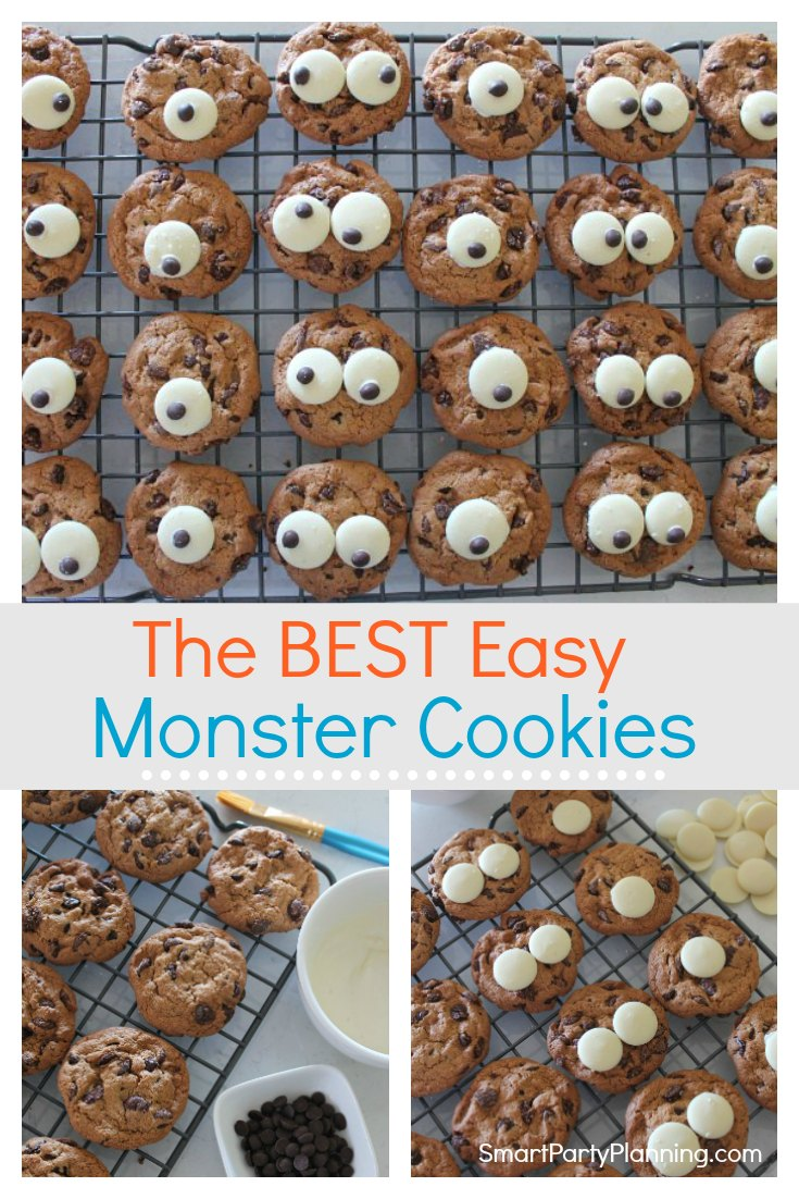 How to make super easy monster cookies. These no bake cookies are simple, yet fun and perfect for a monster or Halloween party. They can be decorated by the kids and enjoyed by everyone. #Monster #Cookies #Howtomake #Tutorial #Easy #Fun #Kids #Nobake
