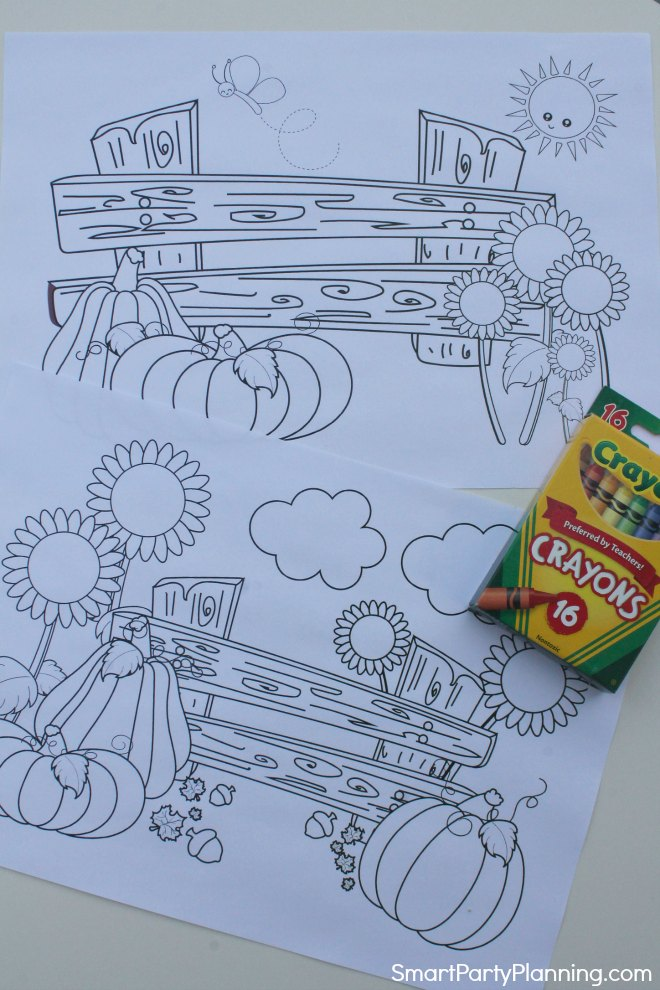 2 Fall coloring sheets with pumpkins and fences