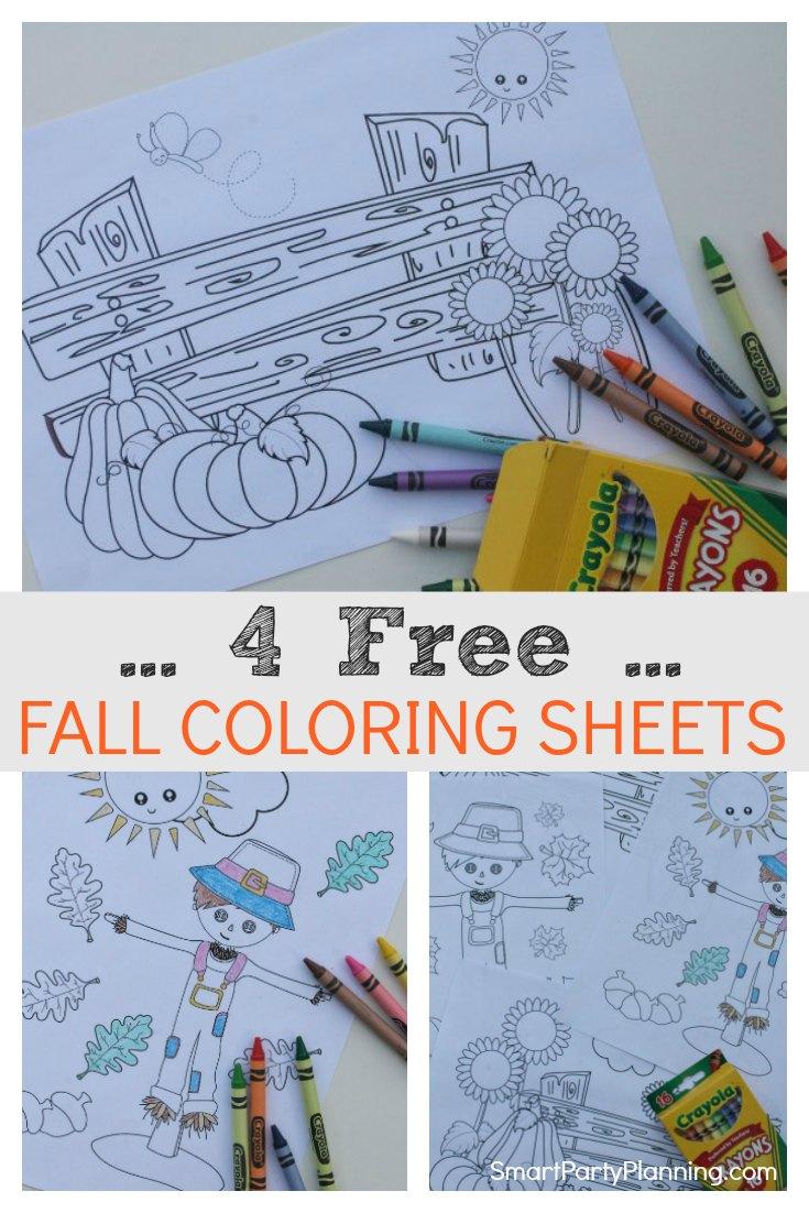 4 Free Fall Coloring Sheets
