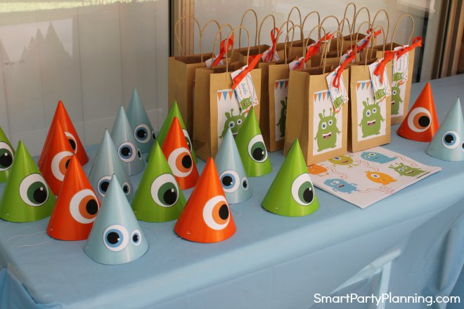 Monster Party Favor Bags and Hats