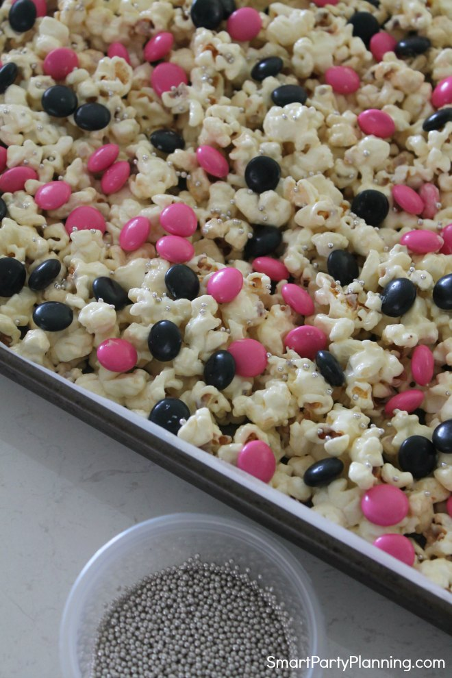 Add silver balls to the rock star popcorn