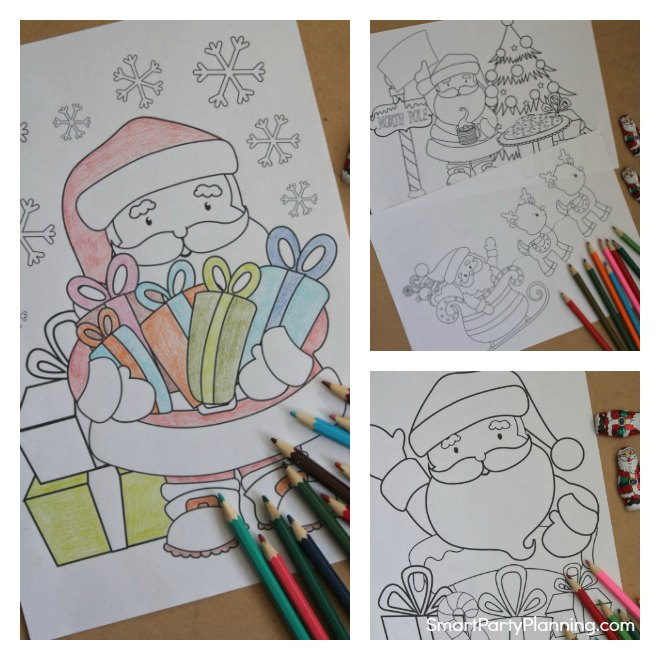Collage of Santa Coloring pages