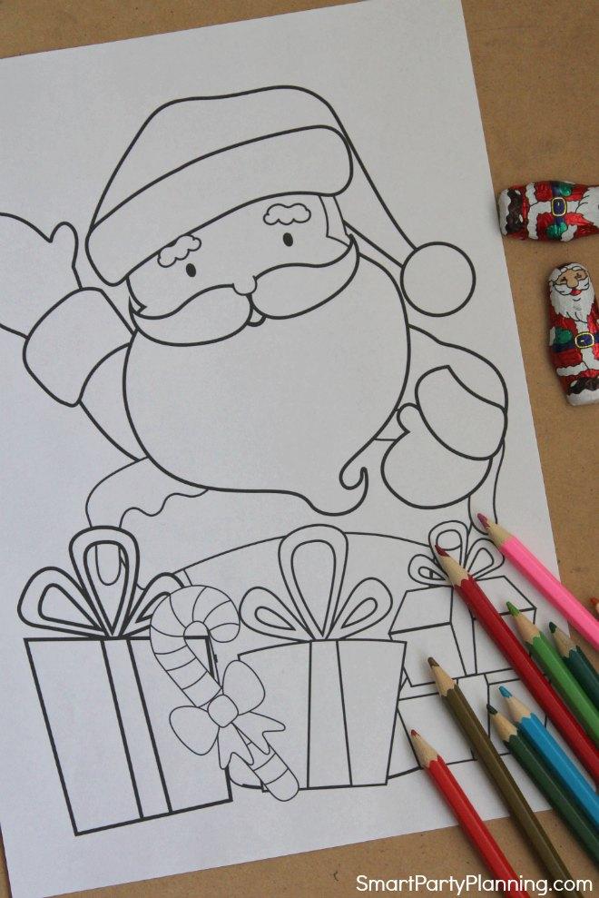 Santa Chimney and presents coloring sheet