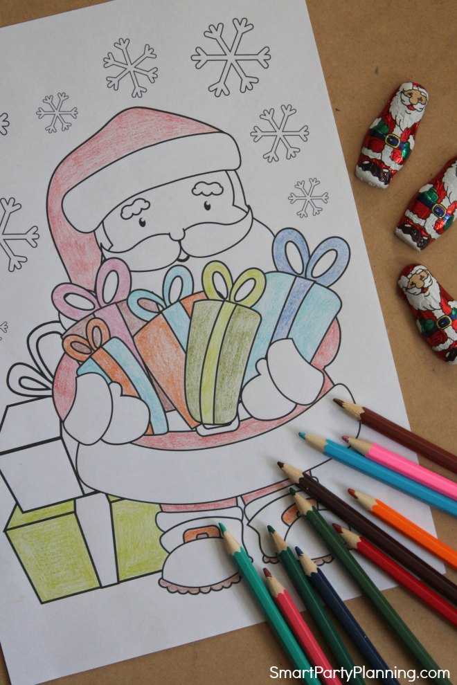 Santa coloring sheet with presents