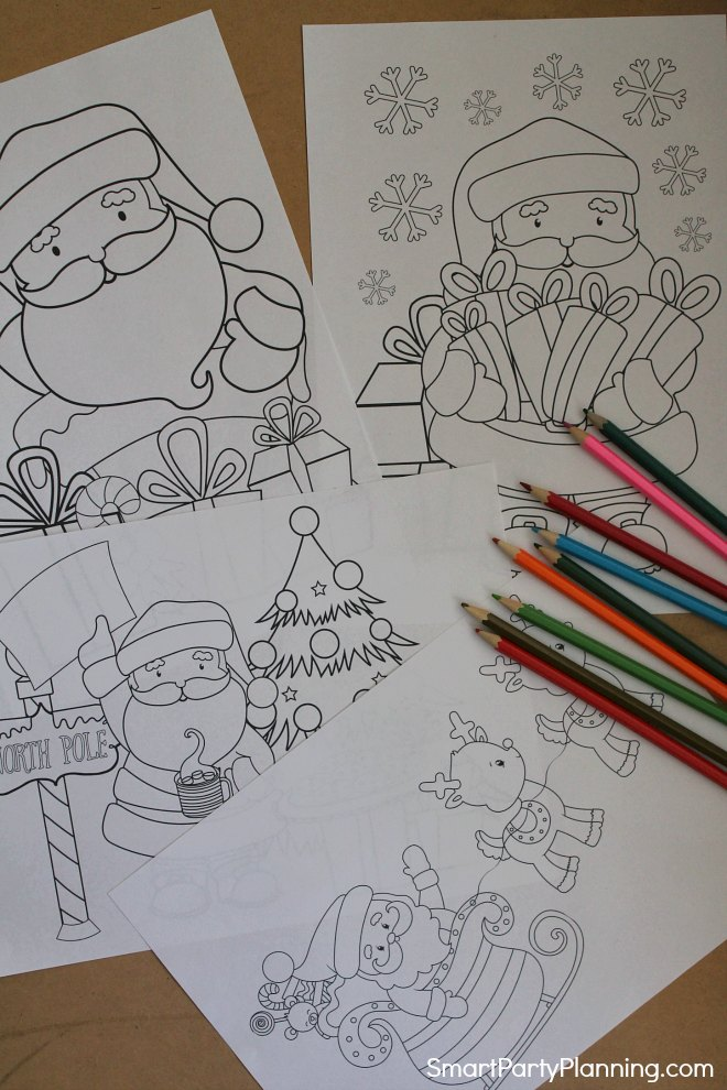 Set of 4 Santa coloring sheets