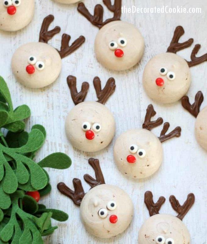 Reindeer meringue cookies
