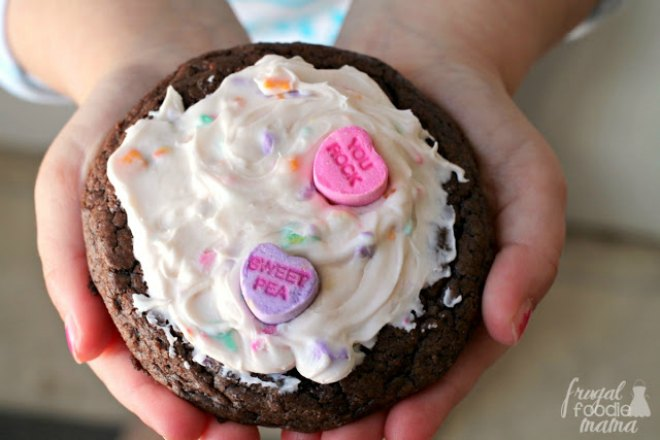 Conversation Heart Frosted Brownies